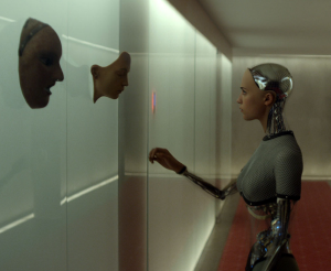 "UNIVERSAL PICTURES The blurred lines between humanity and machinery raises questions in ""Ex Machina."""
