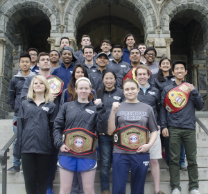 DAN GANNON/THE HOYA Three members of the Georgetown University Club Boxing team earned individual title belts at the USIBA National Championships, including sophomores Sinead Schenk and Corinna Di Pirro, pictured at the bottom of the steps.