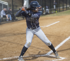 FILE PHOTO: JULIA HENNRIKUS/THE HOYA Senior first baseman Sophia Gargicevich-Almeida has a team-high four home runs and leads the Hoyas with 21 RBIs this season. Gargicevich-Almeida is batting .219 and has played in every game this season.