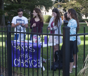 FILE PHOTO: MICHELLE XU/THE HOYA H*yas for Choice members tabling on 37th Street were relocated to Copley Lawn.