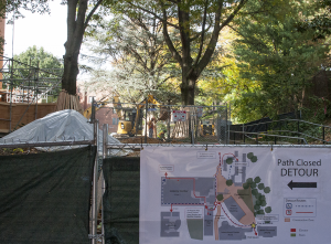 FILE PHOTO: MICHELLE XU/THE HOYA The blocked Reiss Pathway was one of many consequences of campus construction.