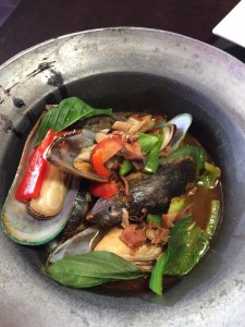 BRIAN DAVIA/THE HOYA Dishes that sounded appealing, such as spiced seemed mussels, were not as appetizing in reality.
