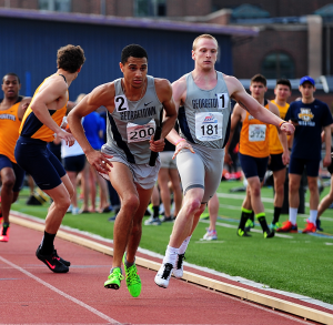 COURTESY GEORGETOWN SPORTS INFORMATION Freshman Joe White won the 800-meter race and was part of Georgetown's 4x400-meter relay team, which also finished first.