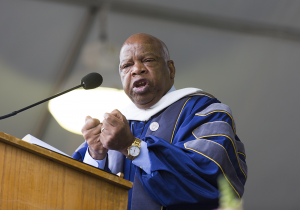 ALEXANDER BROWN/THE HOYA Rep. John Lewis (D-Ga.) delivered the commencement address for the McCourt School of Public Policy on Thursday, receiving an honorary doctorate. Commencement ceremonies for the undergraduate and graduate schools continue through Sunday.