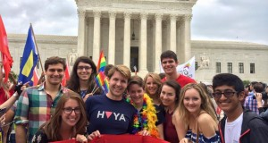 COURTESY CAMPBELL JAMES Georgetown students gathered outside of the Supreme Court this morning to celebrate the legalization of gay marriage.