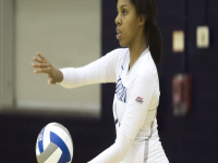 ERICK CASTRO/THE HOYA Freshman outside hitter Alyssa Sinnette had a game-high 15 kills in Georgetown's straight sets win over North Carolina Central. Sinnette leads the team with 3.73 kills per set this season.