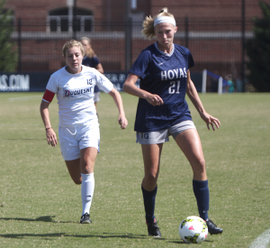FILE PHOTO: CLAIRE SOISSON/THE HOYA Junior forward Grace Damaska assisted the Hoyas' only goal in their 2-1 loss to No. 12 Virginia Tech. Damaska leads the team with four goals on the season.