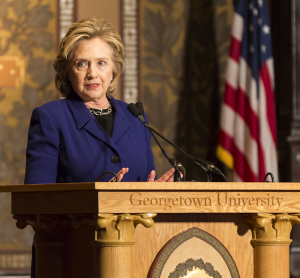 FILE PHOTO: ALEXANDER BROWN/THE HOYA Hillary Clinton, pictured here in Gaston Hall, became the first presidential candidate to address campus sexual assault in a speech Monday.