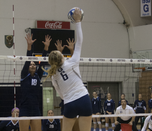 SOPHIE FAABORG-ANDERSEN/THE HOYA Freshman outside hitter Liv King had a career-high 23 kills in the Hoyas' loss to Seton Hall. King ranks second on the team in kills with 137.