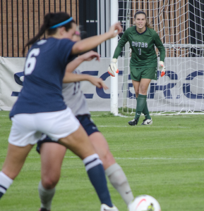 FILE PHOTO: DAN GANNON/THE HOYA Graduate student goalkeeper Emma Newins had five saves in Georgetown's Sunday matchup with the No. 12 Virigina Tech Hokies. The Hoyas fell, 2-1.