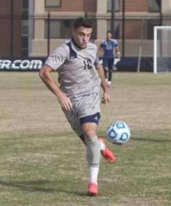 FILE PHOTO: CLAIRE SOISSON/THE HOYA Senior forward Brandon Allen has two goals on eight shots and three assists in the 2015 season, giving him a team-high seven points.