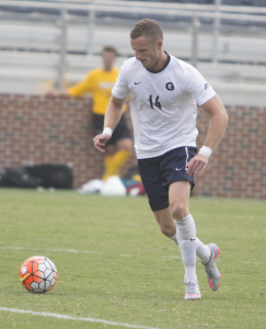 NAAZ MODAN/THE HOYA Senior defender Cole Seiler led the Hoyas' defense in their shutout win over the Friars. It was Georgetown's second shutout of the season.