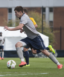 FILE PHOTO: JULIA HENNRIKUS/THE HOYA Junior forward Alex Muyl scored a goal against West Virginia in the 38th minute. Muyl is tied for the team lead with three goals this season.