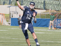 ISABEL BINAMIRA/THE HOYA Senior quarterback Kyle Nolan has thrown for 618 yards and three touchdowns in the Hoyas' first three games of the 2015 season.