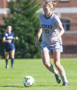 FILE PHOTO: JULIA HENNRIKUS/THE HOYA Junior forward Grace Damaska has scored four goals on 20 shots and has assisted three others for the Hoyas, giving her a team-leading 11 points so far in the 2015 season.