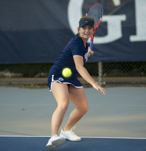 COURTESY GEORGETOWN SPORTS INFORMATION OFFICE Junior captain Victoire Saperstein boasted an 11-3 record at the number one singles position during last year's spring tennis season.