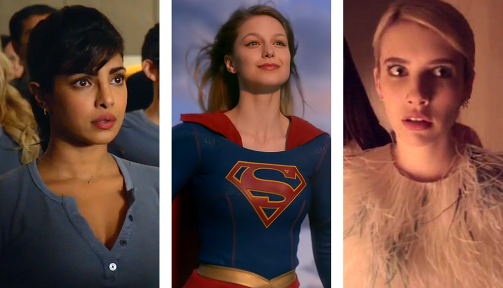 "ABC/CBS/FOX  The arrival of the fall season brings a new hoard of characters, including (from left to right, Priyanka Chopra in ABC spy drama ""Qauntico,"" Melissa Benoist in ""Supergirl"" and Emma Roberts in ""Scream Queens."""