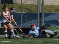 FILE PHOTO: ISABEL BINAMIRA/THE HOYA Junior goalkeeper Rachel Skonecki had 11 saves in her team's 1-0 loss to Rider, maintaining the shutout until Rider scored a goal with 16 seconds left.