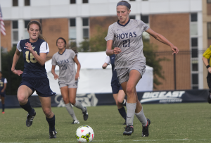 FILE PHOTO: JULIA HENNRIKUS/THE HOYA Junior forward Grace Damaska has recorded four goals and two assists for a team-leading 10 points so far in the 2015 campaign. Damaska had one goal and one assist in the team's win over George Washington on Sept. 10.