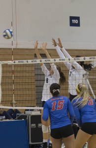 FILE PHOTO: NATE MOULTON/THE HOYA Outside hitter Lauren Saar (8) & middle blocker Ashlie Williams (7)