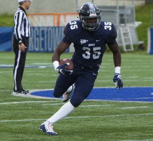 FILE PHOTO: NAAZ MODAN/THE HOYA Senior running back Jo'el Kimpela rushed for a season-high 142 yards and one touchdown on 18 carries in Georgetown's 17-9 victory over Bucknell.