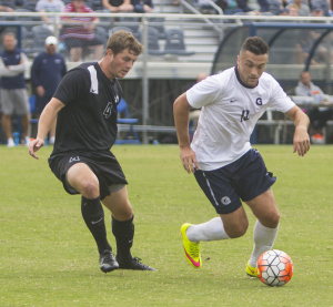 FILE PHOTO: NAAZ MODAN FOR THE HOYA Senior forward Brandon Allen recorded an assist on senior defender Keegan Rosenberry's game-winning overtime goal in the Hoyas' 1-0 win over Xavier.