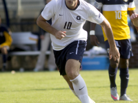FILE PHOTO: NAAZ MODAN/THE HOYA Senior forward Brandon Allen scored the only goal of the match in Georgetown's 1-0 victory over St. John's. Allen leads the Hoyas with six goals to go along with six assists on the season.
