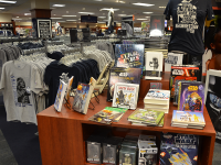 "KARL ALEYJA FOR THE HOYA The Georgetown University Bookstore launched a new line of Star Wars-branded merchandise Sept. 16. The new product line coincides with the upcoming release of ""Star Wars: Episode VII - The Force Awakens."""