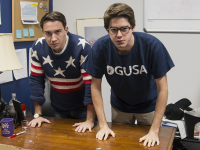 ISABEL BINAMIRA/THE HOYA GUSA President Joe Luther (COL '16), left, and Vice President Connor Rohan (COL '16) are poised to reposition themselves toward student engagment, delegating policy initiatives.