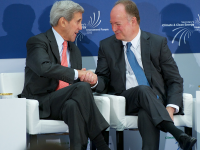 COURTESY GEORGETOWN UNIVERSITY University President John J. DeGioia discussed Pope Francis' encyclical with Secretary of State John Kerry on Tuesday.