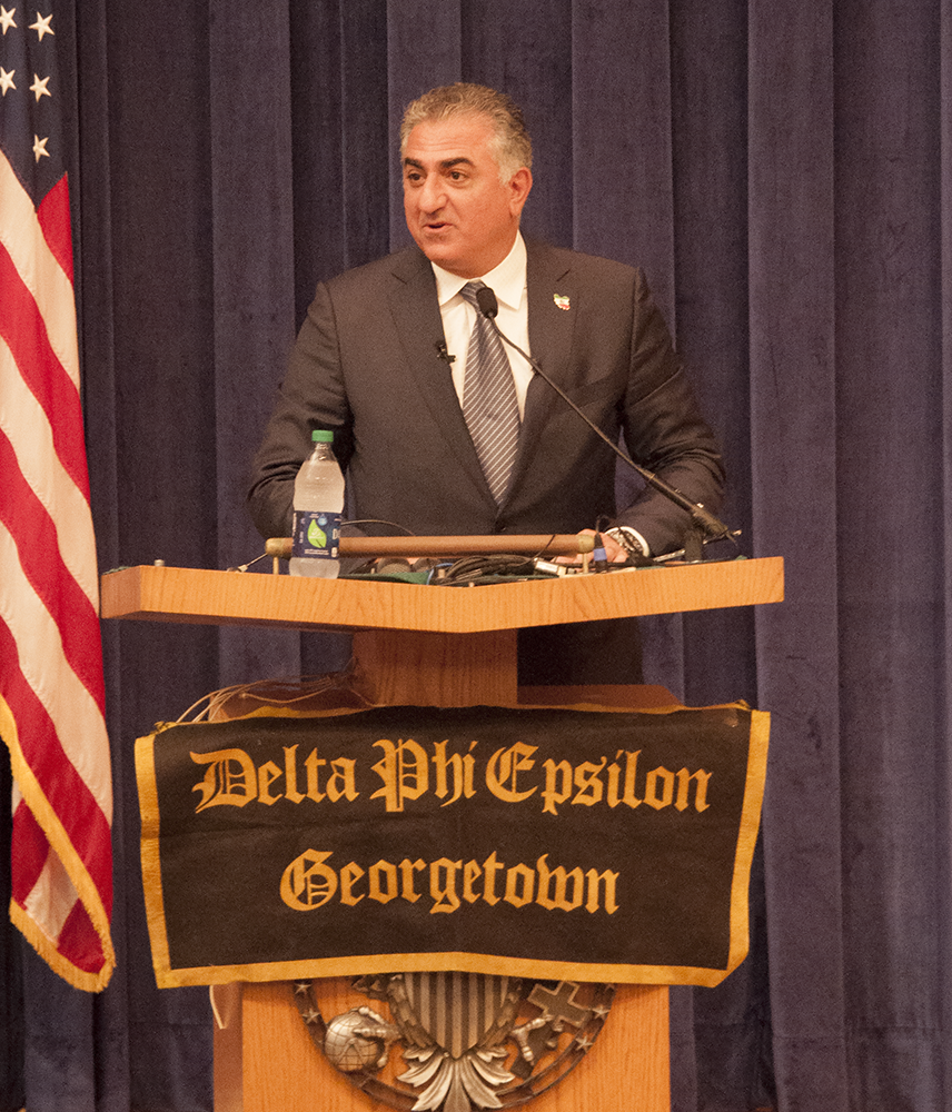 NAAZ MODAN/THE HOYA In his fourth address at Georgetown, Cyrus Reza II Pahlavi, former crown prince of Iran, discussed the road to democracy in Iran and the future of U.S.-Iran relations after the nuclear deal in the ICC on Wednesday.