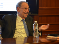 KARLA LEYJA FOR THE HOYA Former Secretary General of the North American Treaty Organization Javier Solana shared his thoughts on the challenges of transatlantic relations in the Mortara Center on Tuesday.