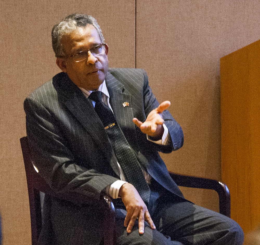 RACHEL SKARR FOR THE HOYA Sri Lankan Ambassador to the United States Prasad Kariyawasam talked about the growth of democracy in his home country in the Intercultural Center on Wednesday.