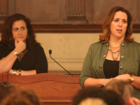 "KARLA LEYJA FOR THE HOYA Founders of sexual assault prevention initiative One Student Kelly Addington, left, and Becca Tieder spoke about sexual violence at this year's ""Are You Ready?"" on Thursday."