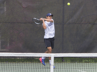 FILE PHOTO: JULIA HENNRIKUS/THE HOYA Sophomore Marco Lam fell to Virginia's Harrison Richmond in the second round of the Atlantic Division of the Regional Championships. Lam took Richmond, the number one seed, to a third-set tiebreaker before falling.