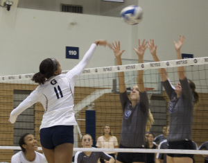 FILE PHOTO: ELIZA MINEAUX FOR THE HOYA   Freshman outside hitter Alyssa Sinette recorded a match-high 20 kills in Georgetown's four-set win over the Providence Friars. Sinette leads the Hoyas with 3.59 kills per set so far in the 2015 season.