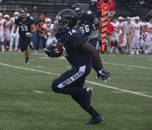 FILE PHOTO: JULIA HENNRIKUS/THE HOYA Sophomore defensive back Jelani Williamson leads Georgetown with two interceptions so far in the 2015 season. Williamson has recorded 26 tackles, including 13 solo tackles and two tackles for loss, this season.