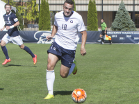 JENNA CHEN FOR THE HOYA Senior forward Brandon Allen scored his team-leading fifth goal of the 2015 season in Georgetown's 3-0 win over conference rival Marquette.