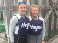 COURTESY GEORGETOWN ATHLETICS Freshman Haddon Hughes, left, became the first Georgetown sailor to win the MAISA Women's Singlehanded Championship. Hughes is pictured with sophomore Lola Bushnell, who finished second at the championship.