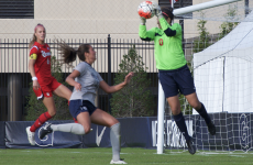 ELIZA MINEAUX FOR THE HOYA Graduate student goalkeeper Emma Newins has started 10 out of 11 games and made 23 saves for the Hoyas on the season.