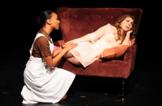 """NAAZ MODAN FOR THE HOYALisette Booty (COL '17), left, plays the black maid Vera Stark opposite Leah Benz (COL '18) as Gloria in the Black Theatre Ensemble's fall production of """"By the Way, Meet Vera Stark"""" by Lynn Nottage. The play opened last night and will run through Sunday."""