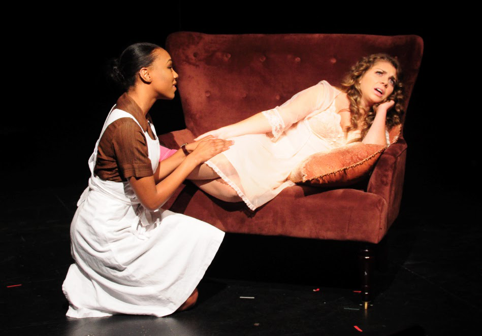 "NAAZ MODAN FOR THE HOYALisette Booty (COL '17), left, plays the black maid Vera Stark opposite Leah Benz (COL '18) as Gloria in the Black Theatre Ensemble's fall production of ""By the Way, Meet Vera Stark"" by Lynn Nottage. The play opened last night and will run through Sunday."