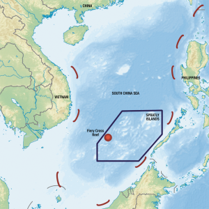 Isabel Binamira China's island building in the contested South China Sea includes a military base on the Fiery Cross Reef, claimed by three other countries.