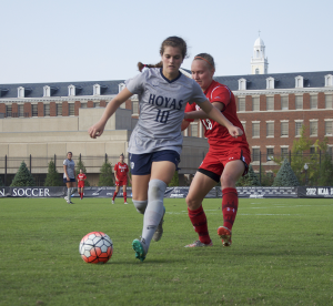 ELIZA MINEAUX FOR THE HOYA Sophomore midfielder Rachel Corboz leads the Hoyas in assists with six and has scored five goals this season. Corboz scored two goals, including the game-winning goal, against Providence on Sept. 27.