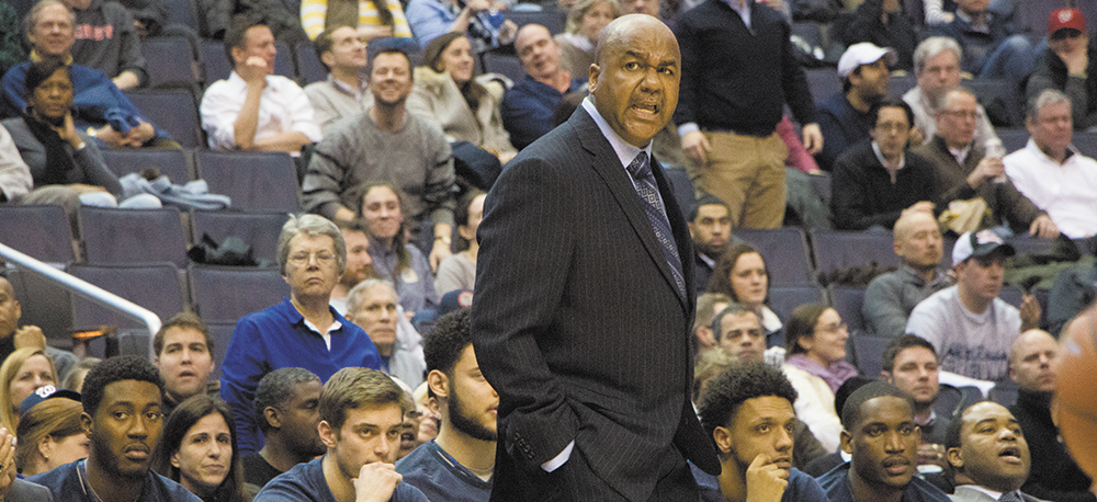 FILE PHOTO: CLAIRE SOISSON/THE HOYA Head Coach John Thompson III led Georgetown to the Final Four in 2007, but the Hoyas have not reached the Sweet 16 since that year.