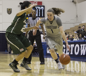 FILE PHOTO: CLAIRE SOISSON/THE HOYA Senior guard Katie McCormick scored 7.9 points per game last season.