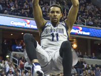FILE PHOTO: JULIA HENNRIKUS/THE HOYA Isaac Copeland dunks against Villanova.