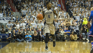 FILE PHOTO: NATE MOULTON/THE HOYA Senior guard D'Vauntes Smith-Rivera led Georgetown with 16.3 points and 3.2 assists per game in the 2014-15 season.