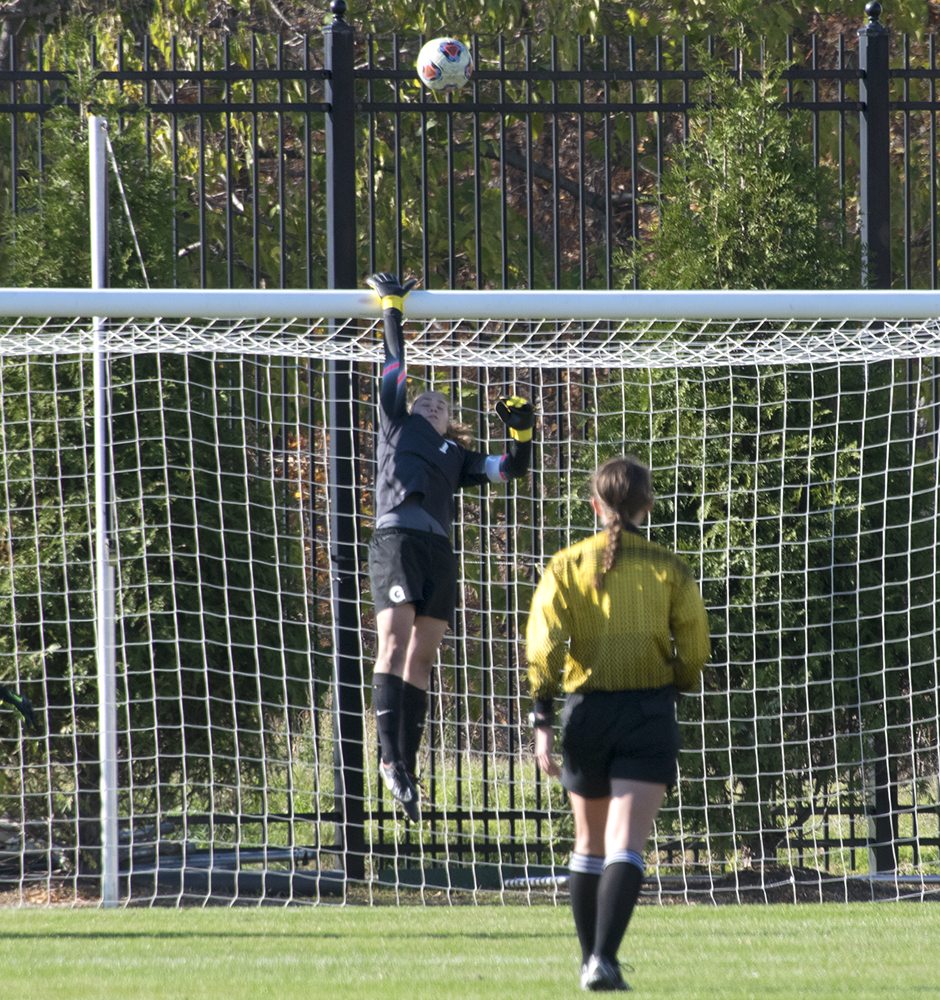 ROBERT CORTES FOR THE HOYA  Graduate student goalkeeper Emma Newins played in her fourth consecutive NCAA tournament.