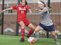 FILE PHOTO: ELIZA MINEAUX/THE HOYA Senior forward Crystal Thomas scored the goal to tie the game in the Hoyas' Big East tournament semifinal matchup with the Providence Friars.
